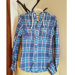 Hollister plaid hooded shirt